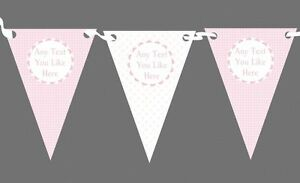 Baby Girl Pink & White Personalised Children's Birthday Party Bunting
