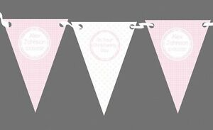 Girl Pink And White Personalised Christening Baptism Bunting