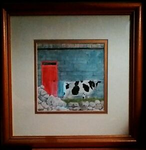 Original signed Painting Gouache Cow Farm by Herbie Hasbrouck Jr $125.99