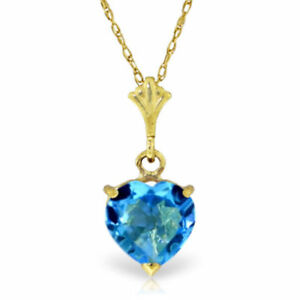 Genuine Blue Topaz Heart Gemstone Pendant Necklace 14K. Yellow White Rose Gold
