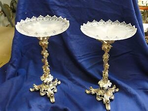 SILVER PLATED AND GLASS CENTER PIECE ANTIQUE CAST GRAPE & VINE PATTERN 1850