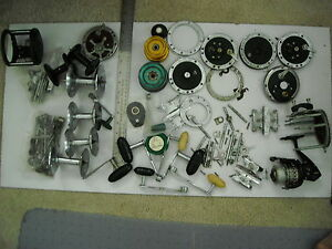 PENN REEL PARTS-MED.FLAT RATE BOX FULL-USED MANY GOOD 40SPOOLSSPINNING