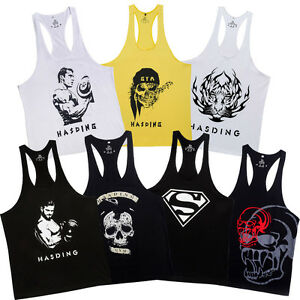 7 Pack HASDING Men's Y-Back Gym Vest Soft Cotton Muscle Power Tank Tops Shirts