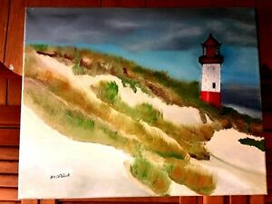 Original One of a Kind Oil on Canvas Lighthouse Signed COA Listed Artist $119.99