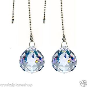 Pack Of 2 Magnificent Crystal Clear 30mm Fan Pull Chain Made With Wedding Prism