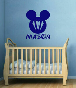 Ik144 Wall Decal Personalized Name Mickey Custom Head Mice Ears Mouse Custom