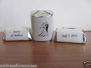 60 Personalized Wedding Silhouette Candy Hershey Nugget Labels Wrappers Wraps $2.99