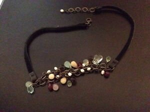 Silpada Necklace Black Leather Retired Glass Beads Fresh Water Pearls