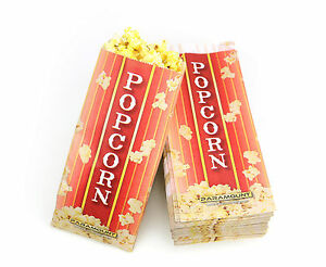 100 Popcorn Serving Bags Pinch Bottom Paper Bag Style