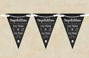 Chalkboard Congratulations Black White Personalised Engagement Party Bunting