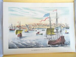 FOUR VINTAGE LITHOGRAPHS OF COLONIAL NEW YORK $75.00