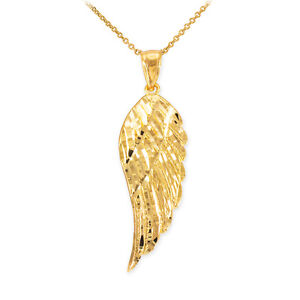 14k Yellow Gold ANGEL WING Pendant Necklace Size Small