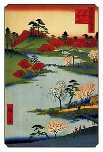 Japanese Woodblock Meditation Wall Art Print: Sacred Garden Cherry Trees. Asian