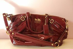 COACH Limited Edition Red Brown Purple Patent Leather Handbag