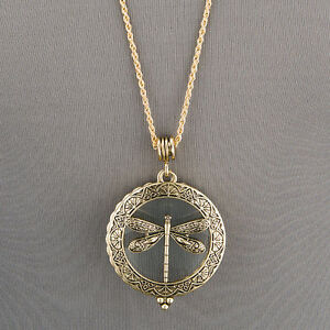 Antique Gold Chain 5X Magnifying Glass Dragonfly Design Pendant Necklace $13.99