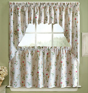 English Garden Floral White Jacquard Kitchen Curtains Tier, Valance or Swag