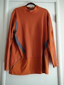 Nike Dri-Fit Hyperwarm Fitted Thermal Fitted Shirt 468001 801 Desert Orange 2XL