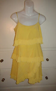 BCBG Max Azria LIME YELLOW Ruffled 100% SILK Spaghetti STRAP DRESS $308NWT XXS M