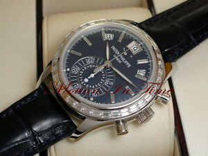 Patek Philippe 5961P-001 Diamond Platinum Blue Annual Calendar Chronograph 40.5m