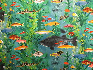 TROPICAL FISH OCEAN LIFE COLORFUL COTTON FABRIC FQ