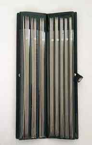 11 Set 14quot; Knitting Needles Straight Double Pointed Case Needle Stainless Steel $30.00