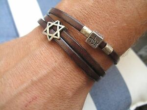 Kabbalah bracelet leather bangle silver amulet god 72 talisman bless luck men