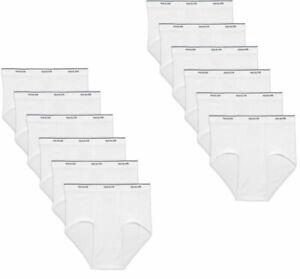FRUIT OF THE LOOM12 PK MENS WHITE BRIEFS 100% COTTON
