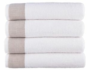 Venice 100% Luxury Turkish Combed Cotton Jacquard 4 Pcs Bath Towels Set