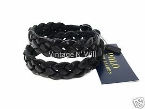 Polo Ralph Lauren Black Braided Double-Wrapped Leather Wrist Strap Bracelet
