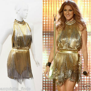 $32315 Versace Atelier Gold Fringed Tie Dyed Gabardine Dress as seen on Celine