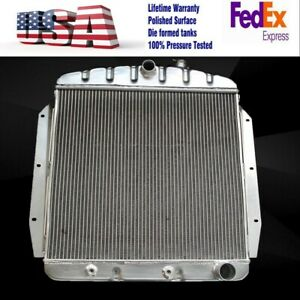 POLISHED ALUMINUM RADIATOR Fit CHEVY GMC TRUCK l6/V8 55 59 BOTH STAMPED TANKS