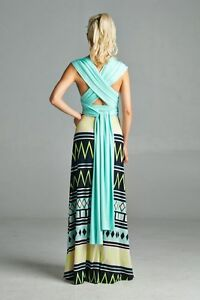 Maxi dress with open back and abstract design skirt multi-color