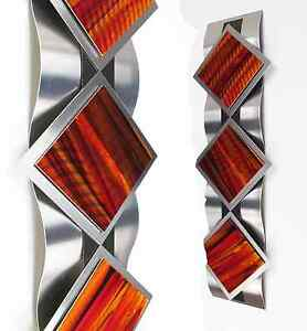 Modern Abstract Metal Wall Art Painting Sculpture Contemporary Home Decor Orange $135.00