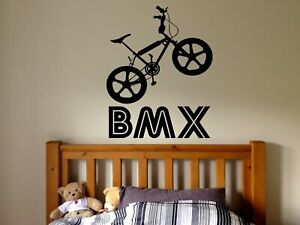 Wall Decal Room Sticker bmx bike sport bicycle jump riding boys nursery bo2984