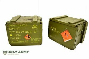 Military Wooden Storage Ammo Box With Lid Genuine Danish Army Surplus 50Cal 7.62