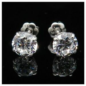 1.50Ct Created Diamond 14K Solid White Gold Round Cut Screwback Stud Earrings