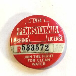 Vtg Round Metal 1974 PA Fishing License Pin Button Pennsylvania Tag Badge