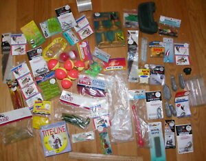 HUGE fishing tackle lot~ice fishing pole lures hooks sinkers floats~rubber worms