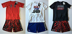 NWT Under Armour Eliminator Printed Shorts and Print Logo Tech Tee Set M L XL