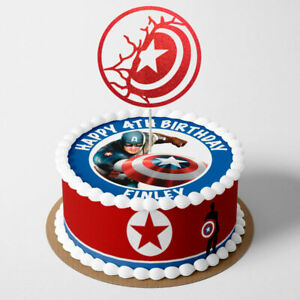 Captain America PERSONALISED EDIBLE Icing Cake Wrapper Toppers Round