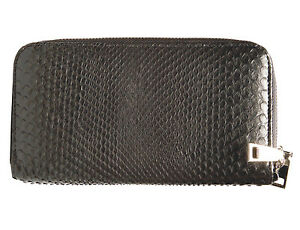 Wallet Women Double Zipped Snake Skin For Bank And Cards - Black