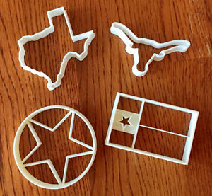 Set of FOUR Texas cookie and fondant cutters - TEXAS SIZED OPTIONS - US SELLER!!