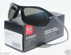 UNDER ARMOUR Zone XL POLARIZED Sunglasses Shiny BlackGray NEW SportCycle $125