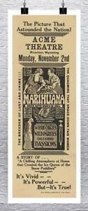 Marijuana Acme Theater Vintage Cannabis Poster Rolled Canvas Giclee 17x41 in. $66.60