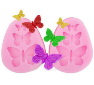 Silicone 3 Butterfly Shape Cake Mould Fondant Sugar Pastry Decor Tool Mold US