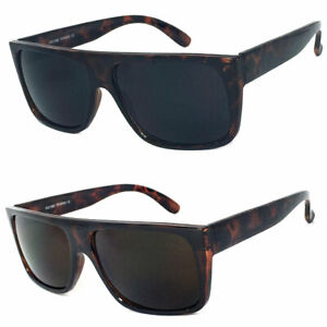 Retro Square Frame Sunglasses Mens Womens Flat Top Square Super Dark Lens $12.99