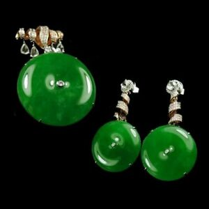 【KOOJADE】 Icy Emerald Young Green Jadeite Pendant And Earring 《Grade A》