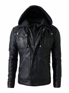 New women's Motorcycle Brando Biker Real Leather Hoodie Jacket - Detach Hood