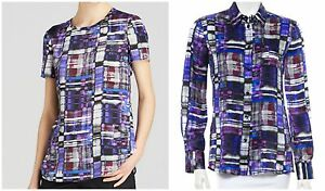 Two Armani Collezioni Kaleidoscope Watercolor Blouses Sizes: 2 & 6 $1,240 Value