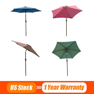 8/9/10FT Outdoor Patio Umbrella Canopy Market Shelter Multi-Color Tilt W/Crank
